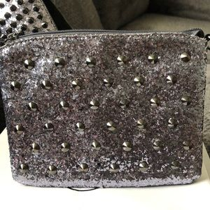 Glitter Pewter Spiked Clutch